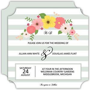Striped Vintage Florals Wedding Invitation