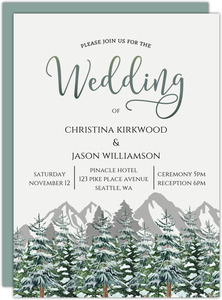 Snow Fir Trees Mountain Wedding Invitation