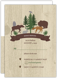 Woodgrain Animals Wedding Response Card