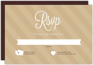 Brown Modern Statement Wedding Response Card