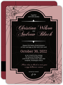 Old Fashioned Script Halloween Wedding Invitation