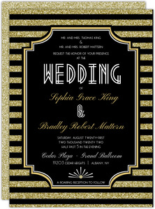 Gatsby Gold Glitter Wedding Invitation