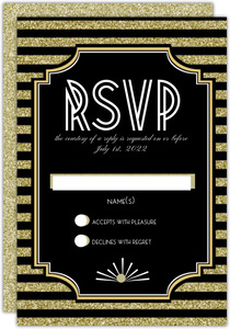 Gatsby Gold Glitter Wedding Response Card