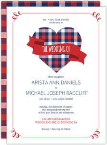 Whimsical Plaid Love Photo Booklet Wedding Invitation