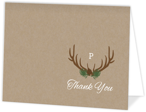 Brown Rustic Antlers Wedding Thank You Card