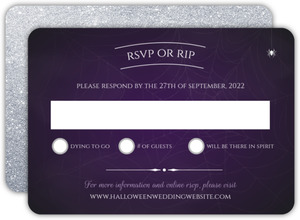Purple Web Photo Halloween Wedding Response Card