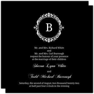 Elegant White Monogram Wedding Invitation
