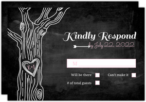 Rustic Chalkboard Tree Wedding Response Card