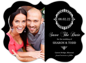 Elegant White Monogram Save The Date Card