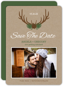 Brown Rustic Antlers Save The Date Card