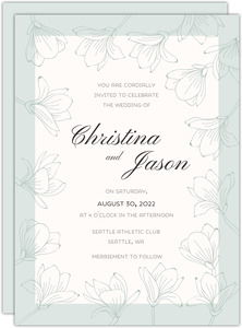 Floral Outlined Frame Wedding Invitation