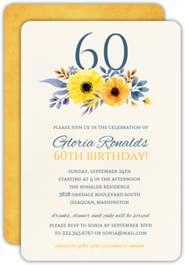 Pink Floral Sixtieth Birthday Invite