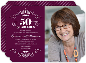 Decorative Swirls 50th Birthday Invitation
