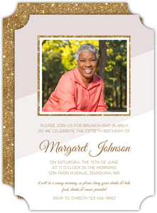 Modern Glitter Frame 50th Birthday Invitation