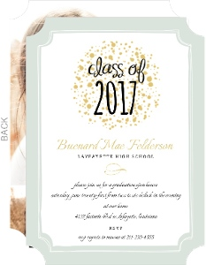 Sweet Mint Gold Photo Collage Graduation Announcement