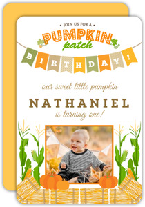 Pumpkin Patch Banner Birthday Party Invitation