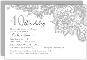Classy Lace 40th Birthday Invitation