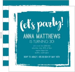 Turquoise Paint Block Birthday Party Invitation