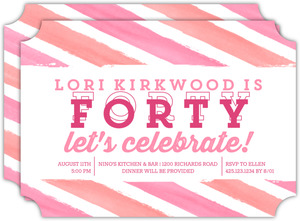 Bright Watercolor Stripes 40th Birthday Invitation
