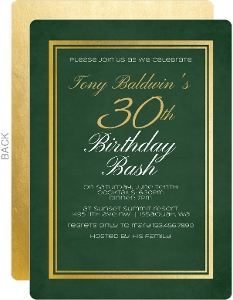Chalkboard Faux Gold Frame 30th Birthday Party Invitation