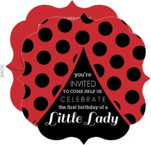 Red And Black Ladybug Spots First Birthday Invitation