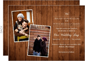 Rustic Wood Grain Photo Wedding Invitation