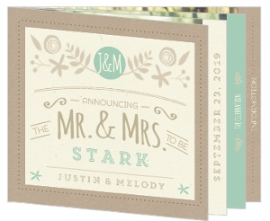 Mint & Kraft Wedding Booklet Invitation