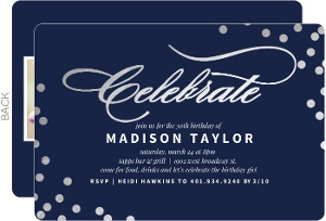 Silver and Navy Celebration Birthday Party Invitation