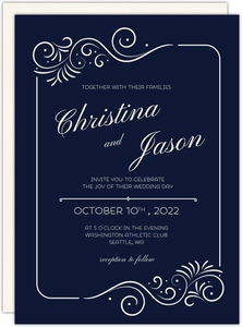 Swirly Elegant Frame Wedding Invitation