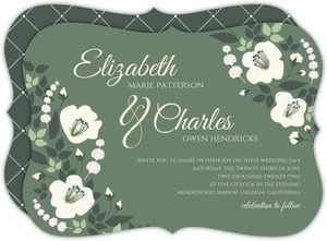 Purple White Flourish Wedding Invitation