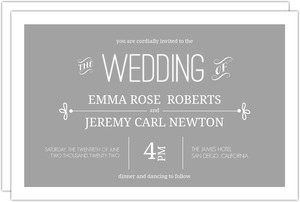 Gray Whimsical Accents Wedding Invitation