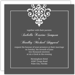 Gray White Flourish Wedding Invitation