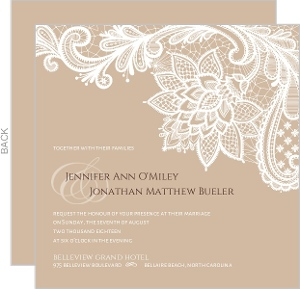 Brown Floral Lace Wedding Invitation