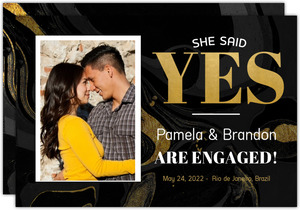 Faux Foil Yes Engagement Announcement