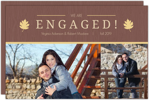 Brown Yellow Rustic Leaves Engagement Announcement