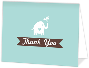 Teal Elephant Baby Sprinkle Thank You Card