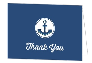 Nautical Blue Sailor Boy Baby Shower Thank You Card