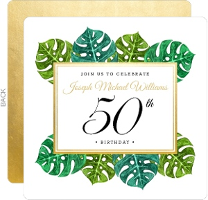 Faux Gold and Tropical Leaves Birthday Party Invitation