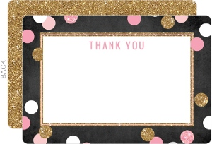 Shimmer Pink and Gold Baby Sprinkle Thank You Card