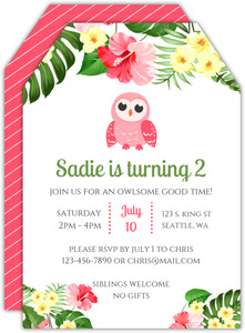 Tropical Leaves Owl Birthday Invitation