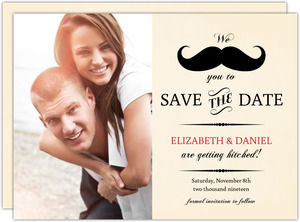 Yellow Vintage Mustache Save The Date Announcement