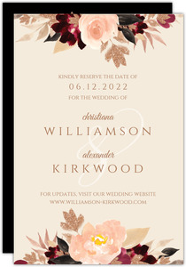 Faux Glitter Watercolor Foliage Save The Date Card