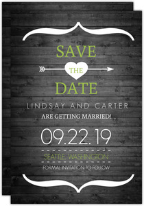 Rustic Green White Tree Save The Date Announcement