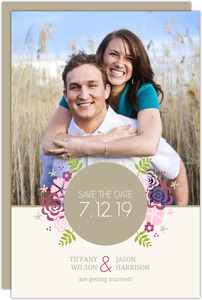 Pink Monogram Flowers Save The Date Announcement