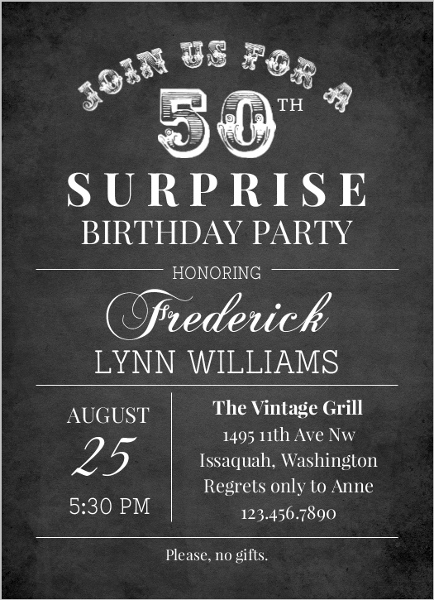 Black And White Chalkboard 50th Birthday Party Invitation
