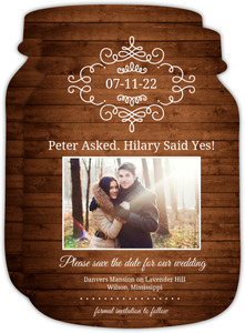 Rustic Wood Grain Photo Save The Date Announcement