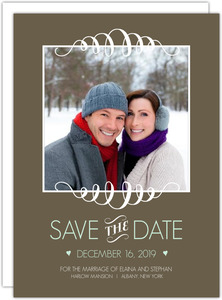 Brown and Mint Stripes Save the Date Announcement