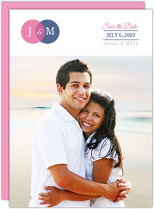 Blue and Pink Venn Diagram Save the Date Announcement