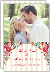Cream Stripes Vibrant Floral Save the Date Announcement