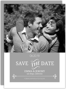 Simple Gray and White Typographic Save the Date Announcement